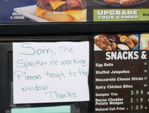 Sign at fast food restaurant in San Luis, AZ